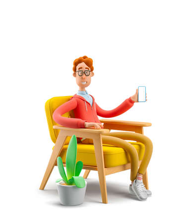 The concept of distance work, study and communication in comfortable conditions at home. Nerd Larry  sits in an armchair and holds a mobile phone. 3d illustration.
