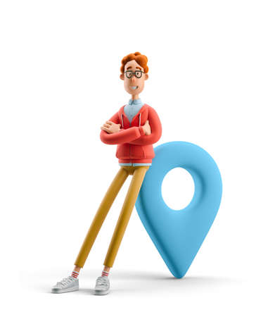 Navigation concept. Nerd Larry with pin sign. 3d illustration.