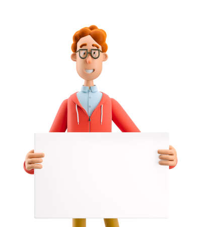 Advertising concept. Nerd Larry with empty board. 3d illustration.