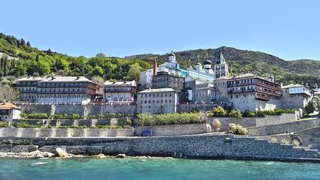 panteleimon: Mount Athos, Chalkidiki Greece - Monastery of St. Panteleimon. Sea view of Agios Panteleimon monastery at Agion Oros.