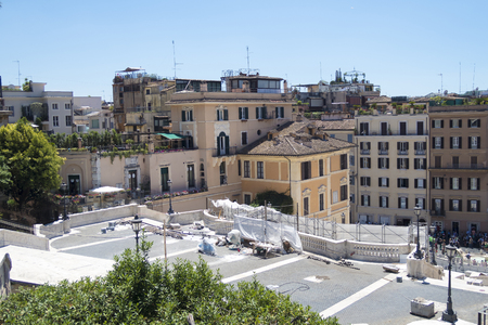 trinita: Rome Italy 17 June 2016. Stored equipment used for Spanish Steps restoration. Scalinata view from Trinita del Monti church. The restoration is estimated to cost 1.5 million euros.