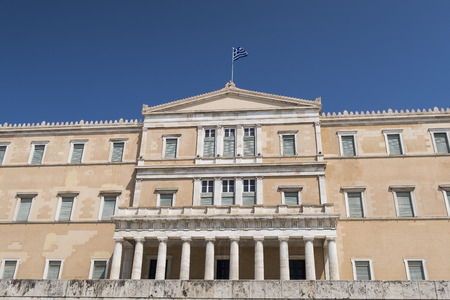 Greek Parliament (Vouli) facade at Syntagma square in Athens. The building was inaugurated in 1843.