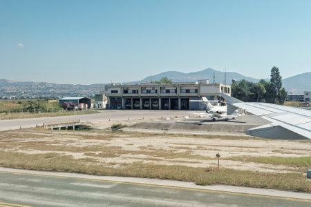 thessaloniki: Thessaloniki, Greece - August 15 2016: Fire engines in Macedonia airport station Thessaloniki international airport Macedonia (SKG) serves more than 5 million passengers annually.