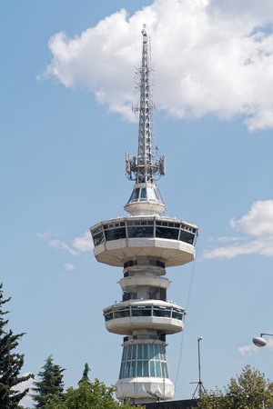 rotates: Thessaloniki, Greece - September 04 2016: OTE telecommunications tower. This 1966 tower stands 76 meters high from the ground. The top floor rotates, offering a city panorama.
