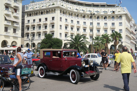 18 30s: Thessaloniki, Greece - September 18 2016: Chevrolet from 30s historic car show. Part of a free one-day exhibition at Aristotelous square in the center of the city.