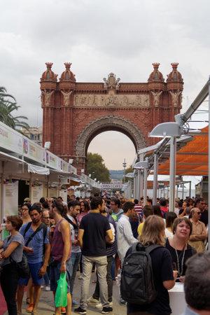 part of me: Barcelona, Spain - 25 September 2016: 36 Wine and Cava Festival 2016 visitors. 36 Mostra de Vins I Caves de Catalunya at the Arc de Triomf monument was part of La Merce 2016 celebrations. Editorial
