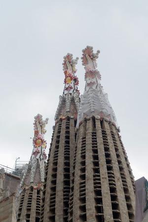 familia: Barcelona, Spain - 24 September 2016: Sagrada Familia external towers detail. External day close view of the towers of Sagrada Familia.