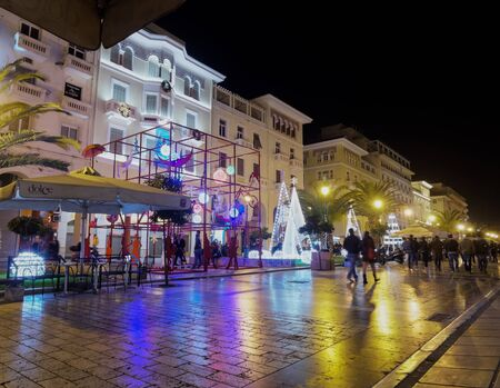 Thessaloniki, Greece - December 11 2016: Christmas decorations at city center. The first night of municipality decorations at the main square of the city, Aristotelous square. Editorial