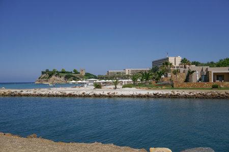 Halkidiki, Greece Sani luxury hotel resort view. Day view of hotel complex at Sani resort in Kassandra Chalkidiki peninsula.