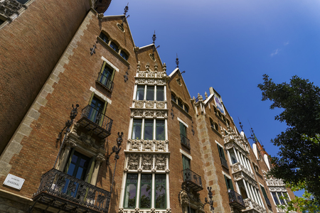 Barcelona, Spain Casa de les Punxes external view. Side view at Diagonal Avenue of Casa Terradas modernist building designed by Josep Puig I Cadafalch. Editorial
