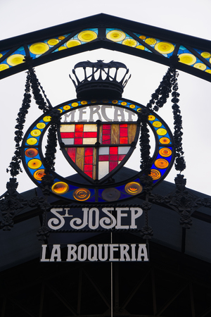 Barcelona, Spain Mercado de La Boqueria signboard. Sign of La Rambla entrance to the Mercat de Sant Josep de la Boqueria public market. Editorial