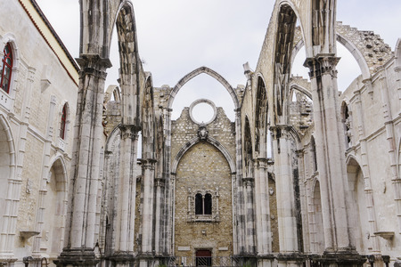 Lisbon, Portugal Carmo Convent Church ruins. Day view of main nave ruins and arches of The Convent of Our Lady of Mount Carmel, Convento da Ordem do Carmo damaged by 1755 earthquake. Editorial