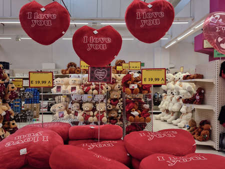 Thessaloniki, Greece - February 3 2021: Happy Valentines day teddy bears and hearts shop showcase. Interior view of romantic love stuffed toys and pillows sold as gifts for annual February 14 feast. Editöryel