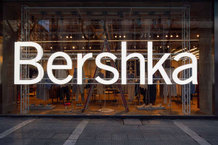 Thessaloniki, Greece - March 13 2021: Bershka retailer store exterior with logo. Spanish clothes & accessories brand owned by Inditex, trading worldwide store view with clothing at Tsimiski street.