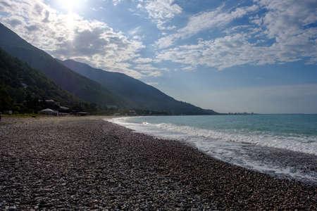 Mountains and pebble beaches of the coast of Gagra.