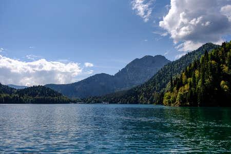 Summer landscape of lake Ritsa and mountains.
