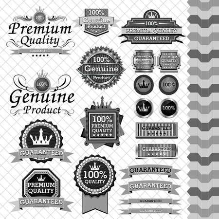 Luxury label set black   white