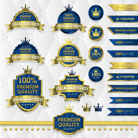 Blue and gold luxury label with white background Vector