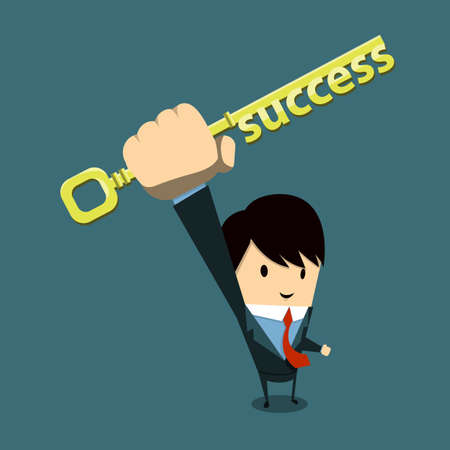 employment issues: businessman with key-Success
