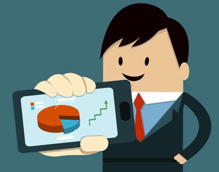 Business Man Show Smart Phone ,graph,arrow Vector