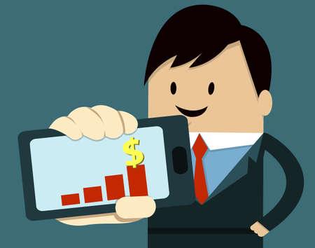 Business Man Show Smart Phone ,graph Vector