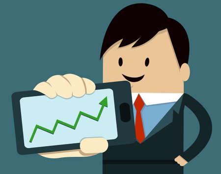 Business Man Show Smart Phone ,up arrow Vector