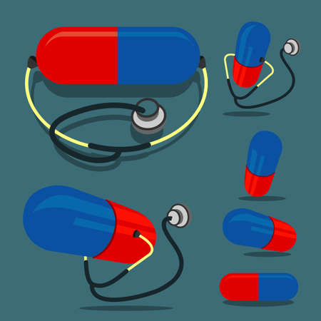 birth control: Pill (red&blue color) and Stethoscope