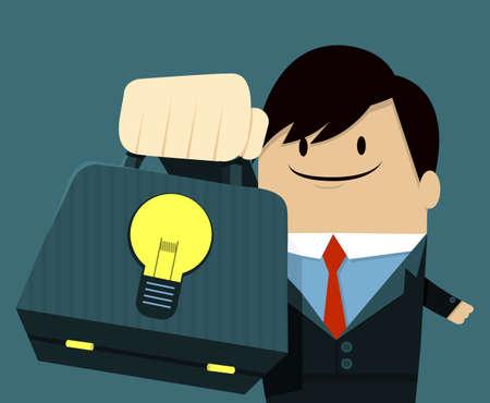 exploitation: Businessman face smile and Showing Bag - Light Bulb Illustration