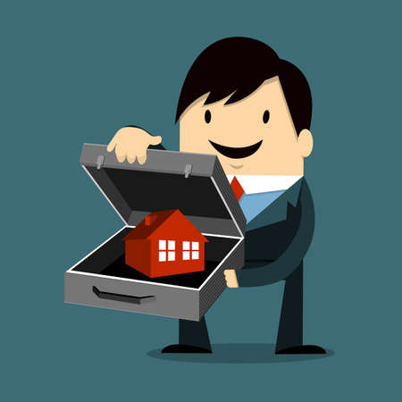 Businessman Holding Home Vector