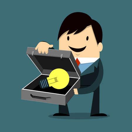 impart: Businessman Holding Light Bulb Illustration