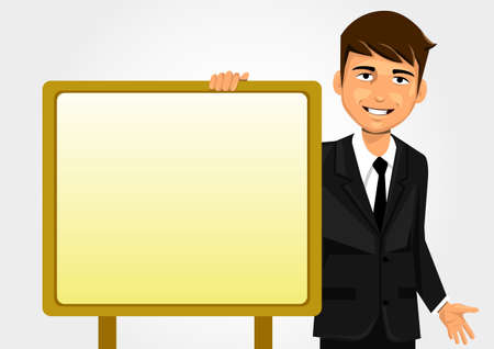 Businessman holding white board Vector