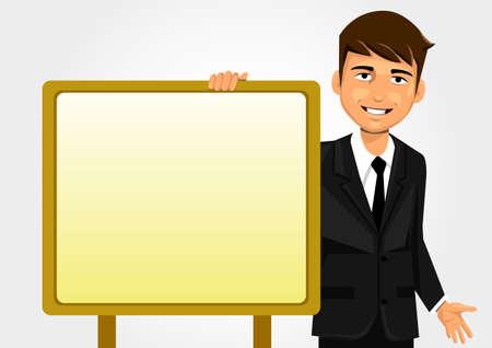 stubble: Businessman holding white board