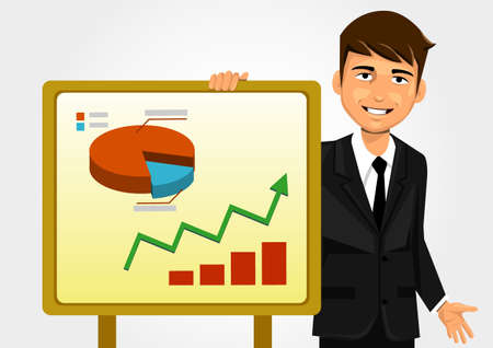 stubble: Businessman showing graphs Illustration