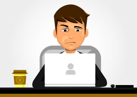Confused businessman in front of Laptop . 向量圖像