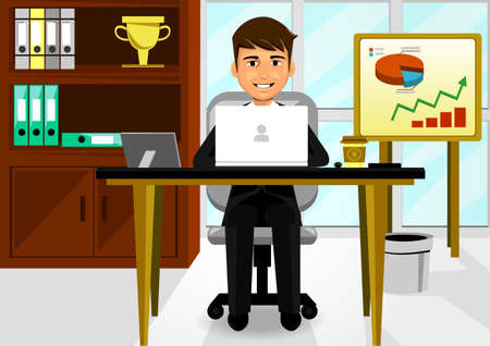 button down shirt: Young Businessman In The Office Illustration
