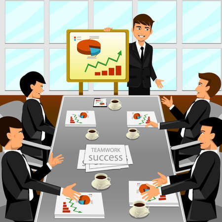 discussion meeting: Business meeting in an office Illustration