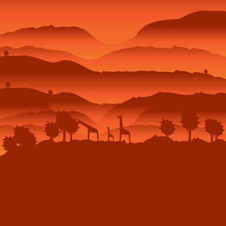 African landscape with animal silhouette Stock Illustratie