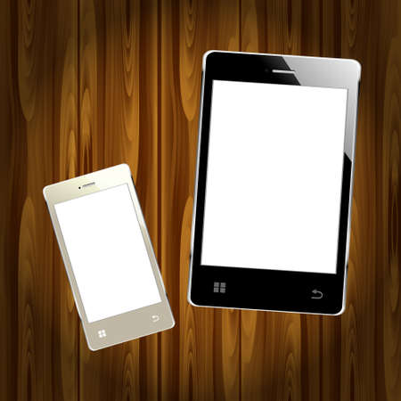 varnished: New realistic mobile phone smart phone and tablet Illustration
