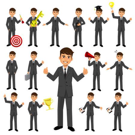 Set of businessman character Ilustração