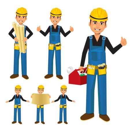 hombre caricatura: Trabajador de la construcción o manitas con caja de herramientas