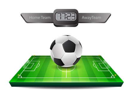 grass field: Realistic soccer ball and grass field Illustration