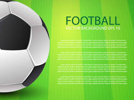 evening ball: Football soccer ball on green field background and text Illustration