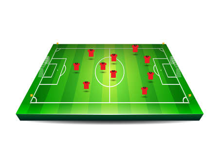 demonstrate: Soccer or football field with players and team tactics Illustration