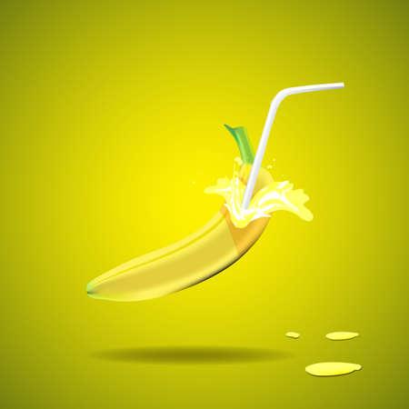 nonalcoholic: Banana juice featuring banana with a straw