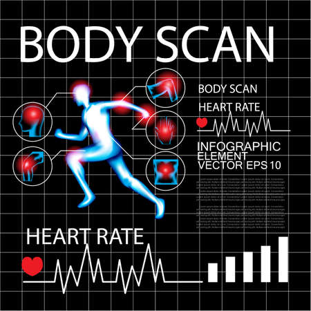 lower limb: Body pain, X-Ray, Body Scan, Heart rate, Info graphic Illustration