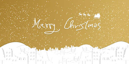 Christmas background with white city and snowflakes bokeh background