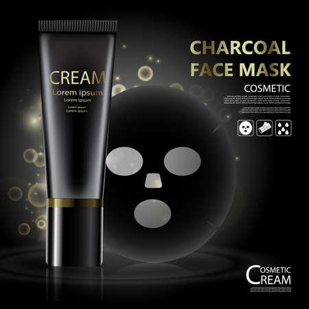 Pacchetto crema per la cura della pelle, maschera per il viso carbone, poster di prodotti cosmetici di bellezza, con sfondo bokeh