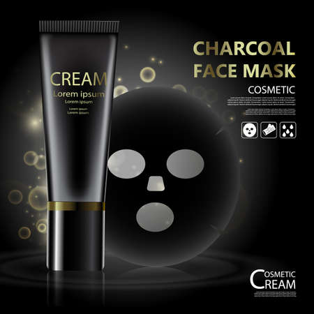 hair mask: Package skin care cream, Charcoal face mask, Beauty cosmetic product poster, with bokeh background