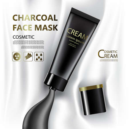 hair mask: Vintage  presentation of a  package skin care cream, Charcoal face mask, Beauty cosmetic product poster, with bokeh background