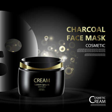hair mask: Vintage  presentation of a  cosmetic Bottle package skin care cream, Charcoal face mask.